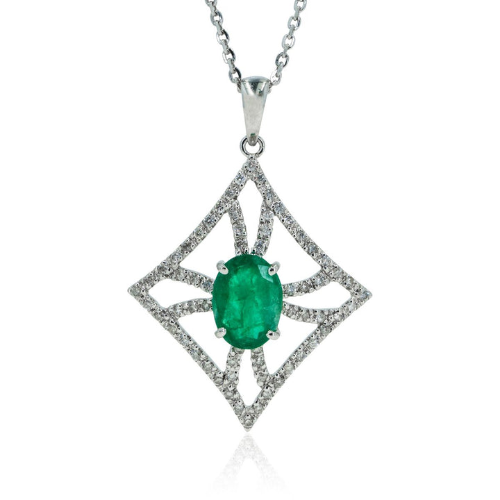 White Gold 1.50ctw Diamond and Natural Emerald Gemstone Statement Pendant - Giorgio Conti Jewelers