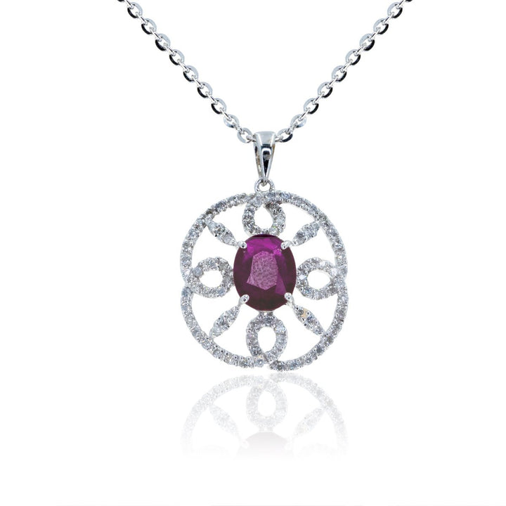 White Gold 1.55ctw Diamond and NATURAL Ruby Statement Designer Gemstone Pendant - Giorgio Conti Jewelers