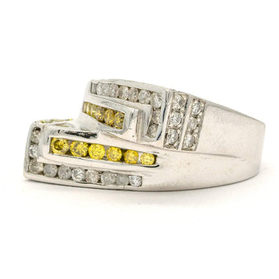 White Gold 1.80CTW Round Brilliant Cut Natural Canary Yellow and White Diamond Mens Ring - Giorgio Conti Jewelers