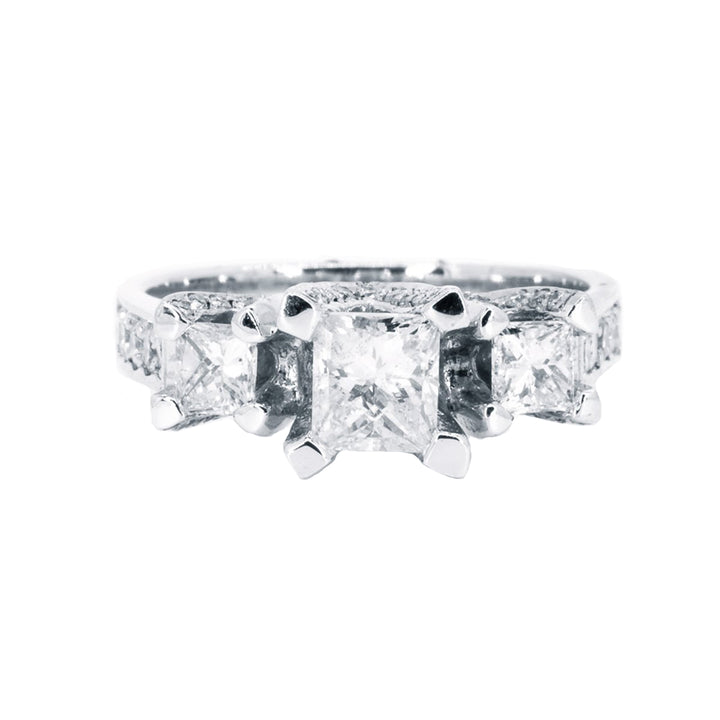 White Gold 1.86ctw Natural Princess Cut Three Stone Diamond Engagement Wedding Ring