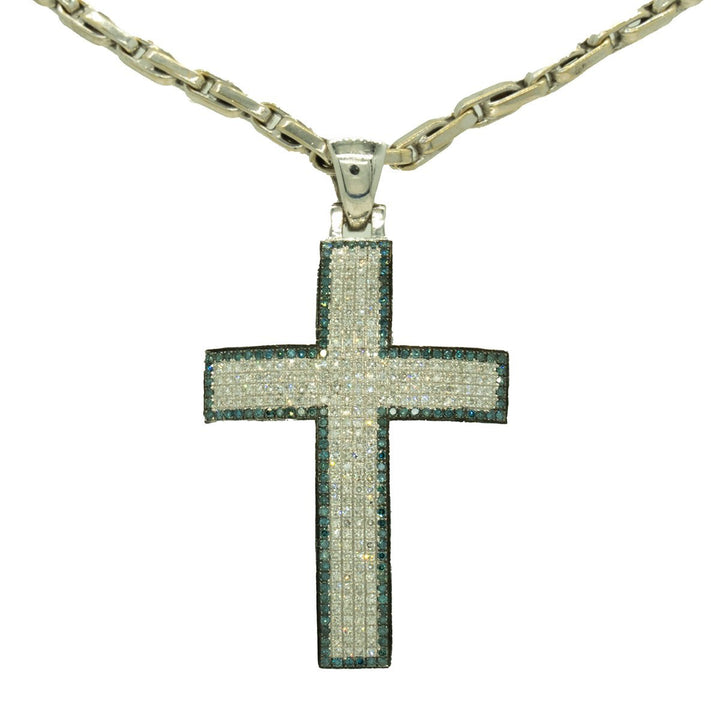 White Gold 1.88ctw Round Cut Pave Set Blue and White Diamond Cross Pendant - Giorgio Conti Jewelers