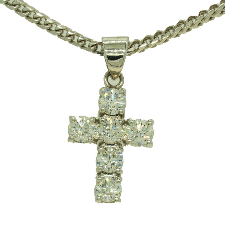 White Gold 2.55ctw Round Cut Prong Set Diamond Cross Pendant - Giorgio Conti Jewelers