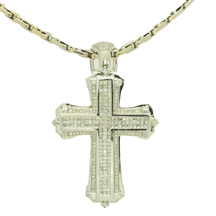 White Gold 3.30ctw Round and Princess Cut Diamond Cross Pendant - Giorgio Conti Jewelers