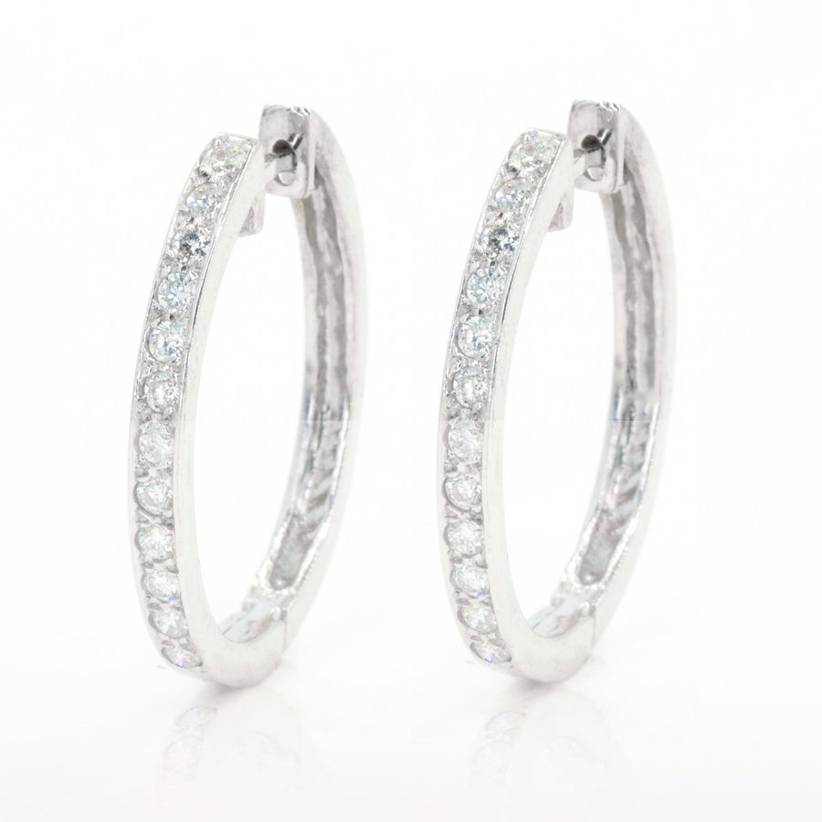 White Gold .75ctw NATURAL Diamond Oval Drop Hoop Earrings - Giorgio Conti Jewelers