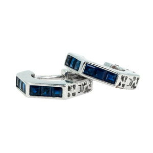 White Gold Natural 1.13ctw Sapphire Hoop Gemstone Earrings Modern Sapphires - Giorgio Conti Jewelers