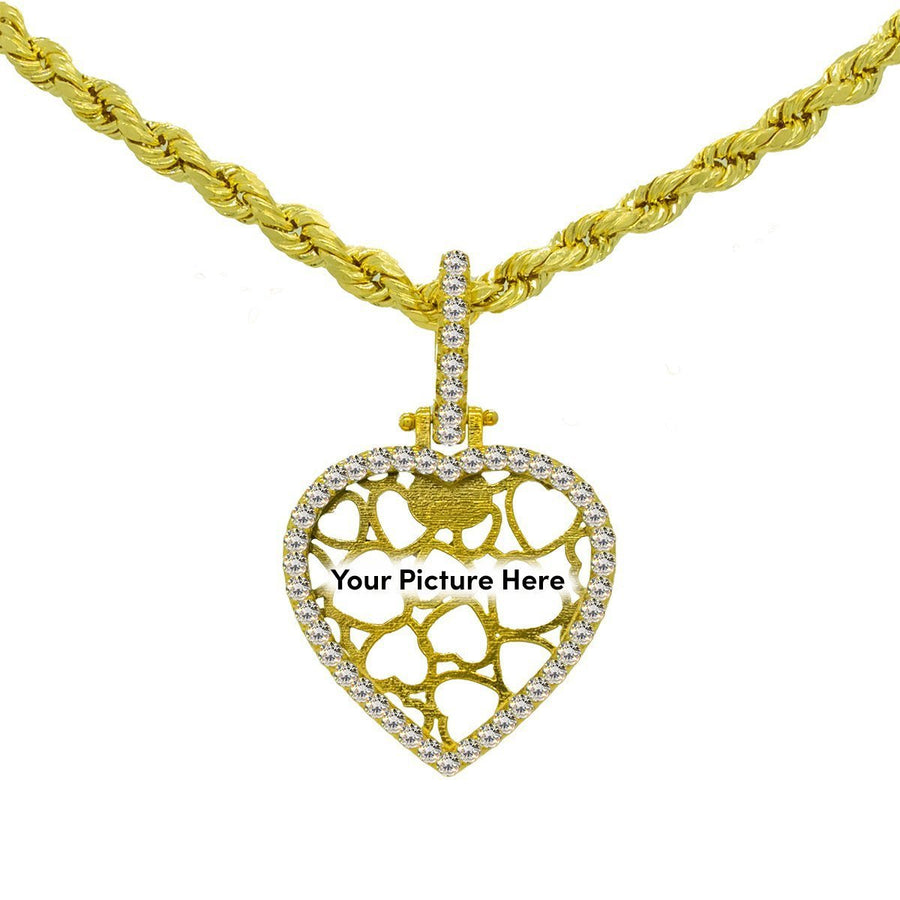 Yellow Gold 1.20ctw Round Cut Prong Set Diamond Heart Memory Pendant - Giorgio Conti Jewelers