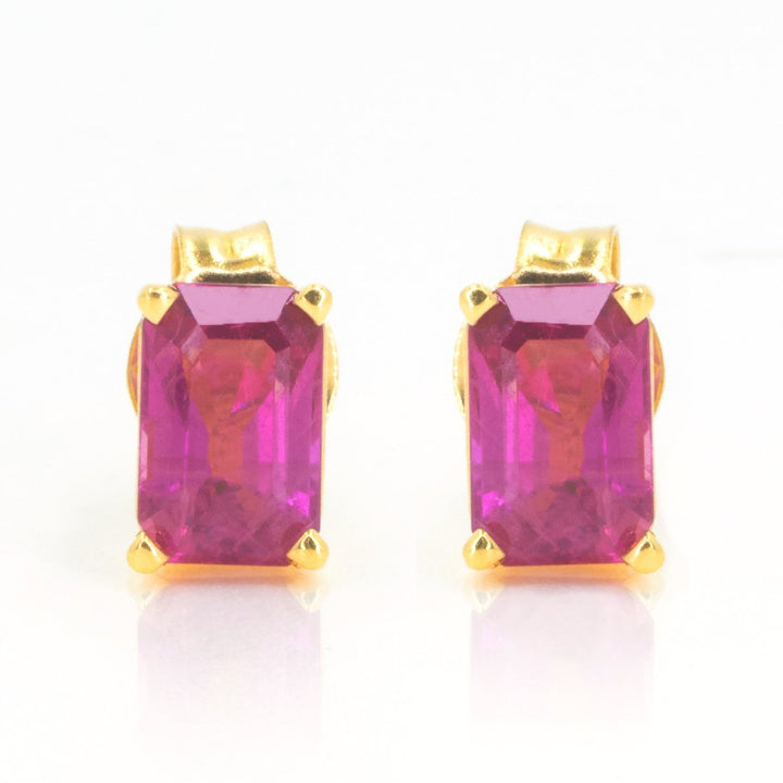 Yellow Gold 1.34ctw Natural Emerald Cut Fine Ruby Stud Earrings - Giorgio Conti Jewelers