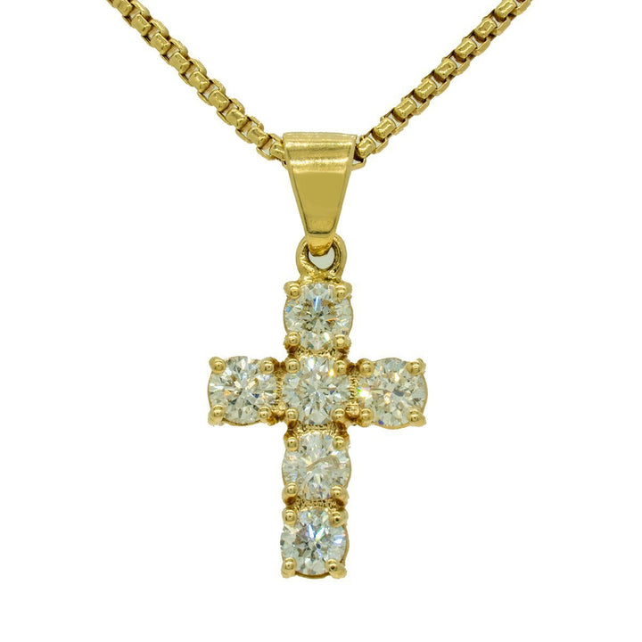 Yellow Gold 2.50ctw Round Cut Prong Set Diamond Cross Pendant - Giorgio Conti Jewelers