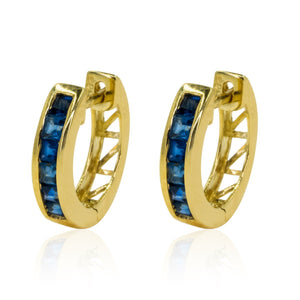 Yellow Gold .58ctw Natural Sapphire Hoop Gemstone Earrings - Giorgio Conti Jewelers
