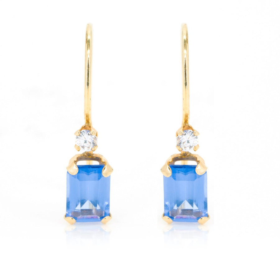 Yellow Gold .82ctw Emerald Cut Tanzanite and Round Diamond Drop Earrings - Giorgio Conti Jewelers