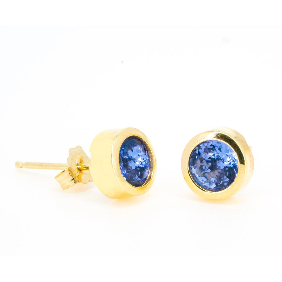 Yellow Gold Natural 1.50ctw Tanzanite Bezel Set Stud Earrings Fine Vibrant Tanzanite Earring - Giorgio Conti Jewelers