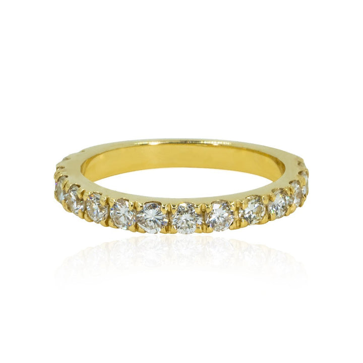 Yellow Gold Prong Set Natural 1.12ctw Diamond Wedding / Stacking Band Ring - Giorgio Conti Jewelers