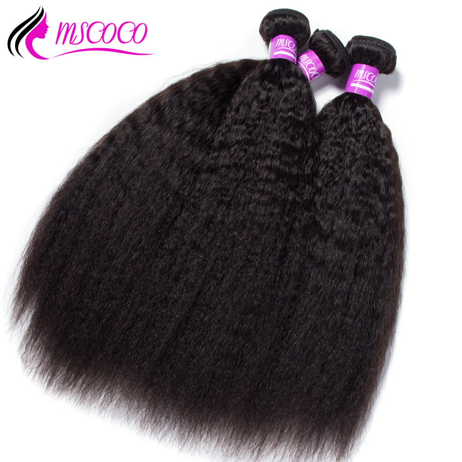 Brazilian Kinky Straight Hair 3 Bundles Remy Human Hair