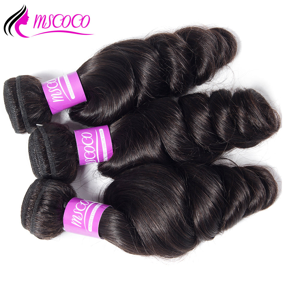 3 Bundles Loose Wave Bundles Brazilian Hair 10-28 inch