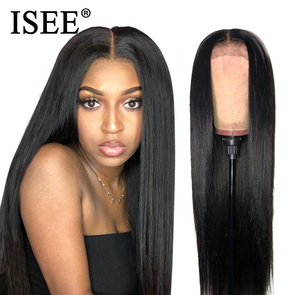 ISEE HAIR Straight Lace Front Wig Malaysian Straight Lace Human Hair