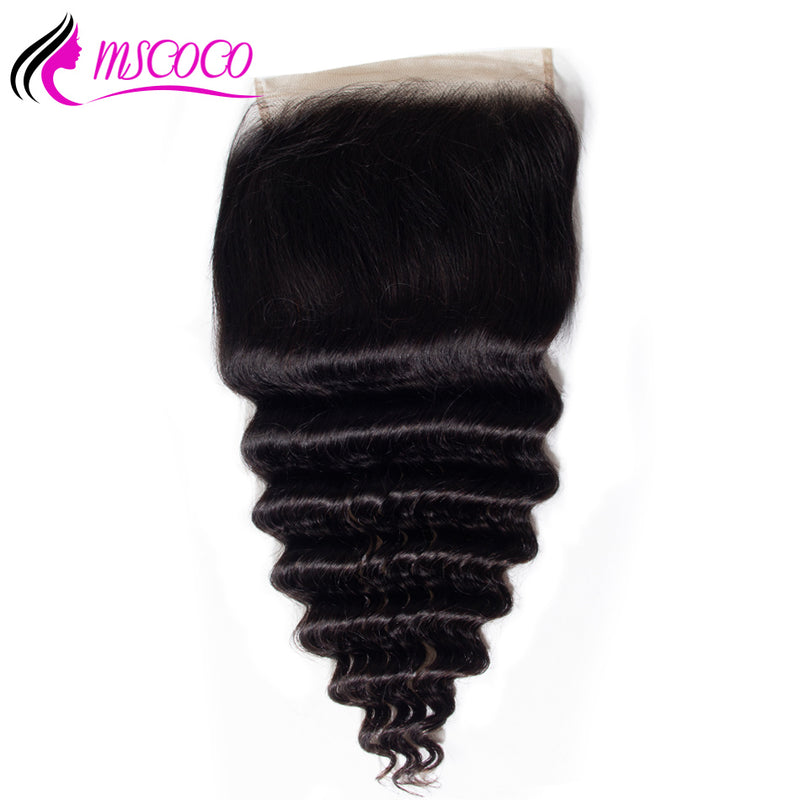 6x6 Lace Closure Brazilian Hair Loose Deep Wave Pre Plucked With Baby Hair Bleached Knots