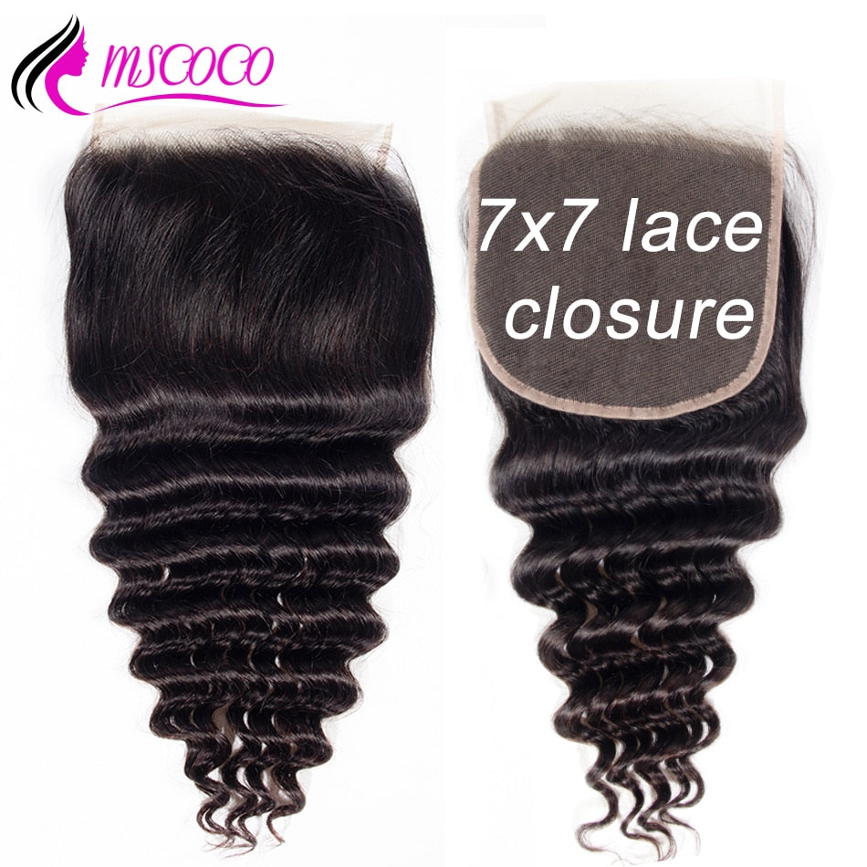 Loose Deep Wave Closure Remy Human Hair 7x7 Lace Closure Pre Plucked