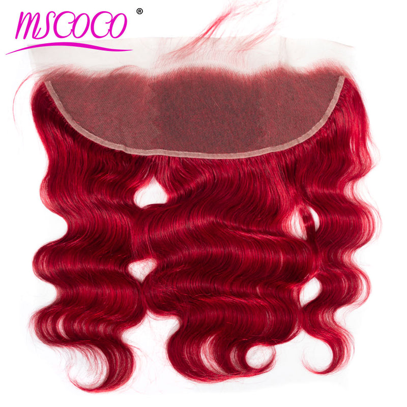 Brazilian Body Wave 13*4 Lace Frontal Closure Remy 100% Human Hair Ear To Ear Closure Color Red Lace Frontal