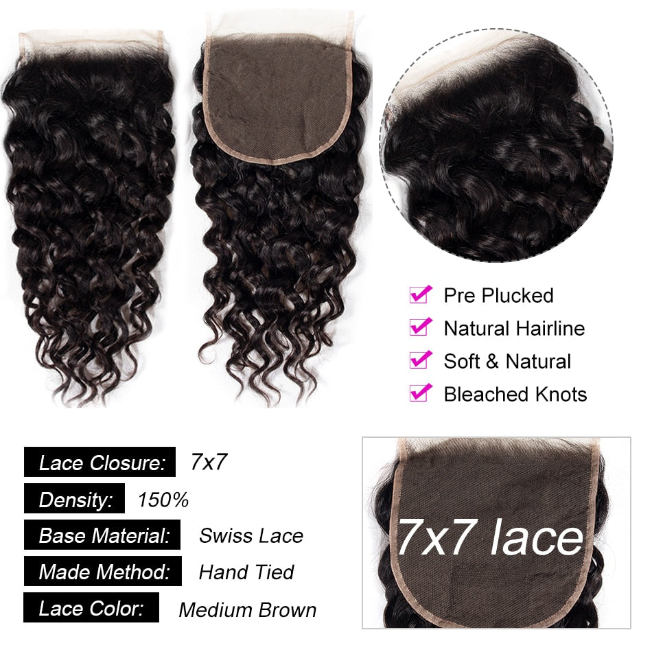 7x7 Lace Closure Brazilian Hair Water Wave Closure Pre Plucked With Baby Hair
