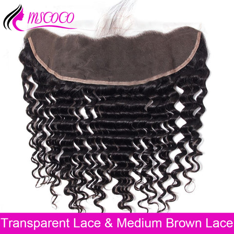 HD Transparent Lace Frontal Closure Brazilian Deep Wave Frontal Closure Swiss Lace