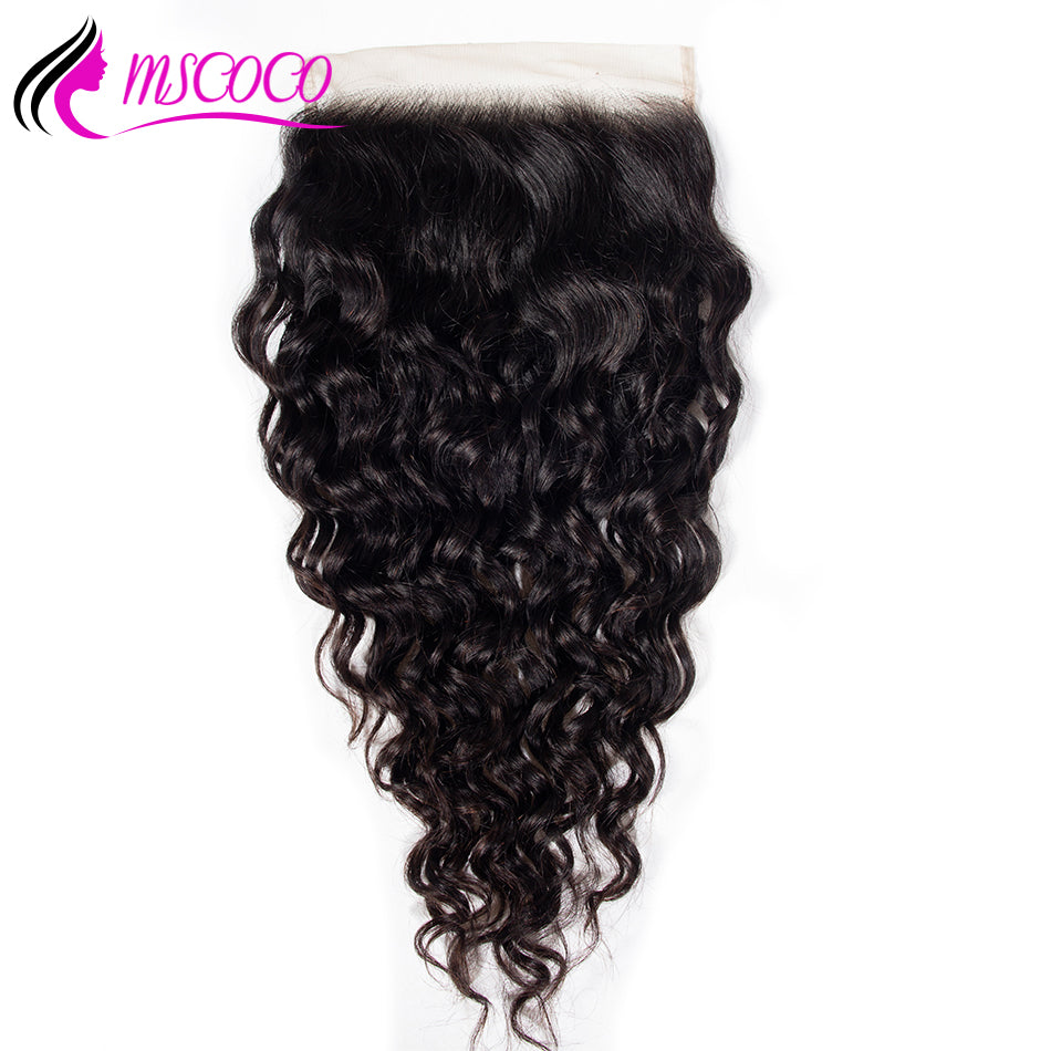 Brazilian 6x6 Lace Water Wave Closure Pre Plucked With Baby Hair