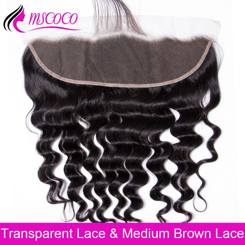 Brazilian Loose Deep Wave LD Transparent Frontal Closure Human Hair Closure 13x4 Swiss Lace