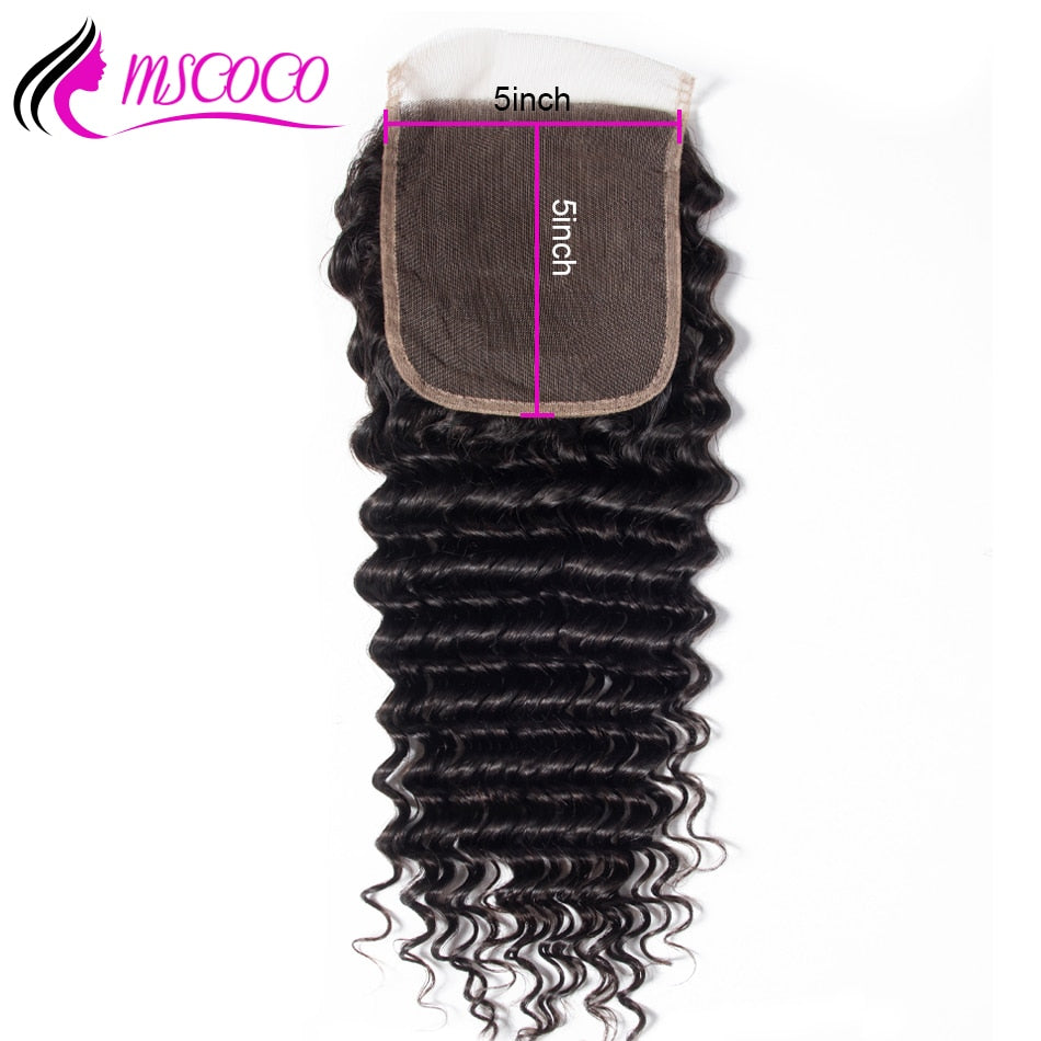Deep Wave 5x5 Lace Closure Free Middle Part Brazilian Remy Hair Closure With Baby Hair Bleached Knots