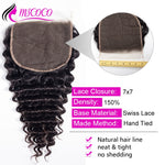 Deep Wave Closure Pre Plucked 7x7 Swiss Lace Closure Free Middle Three Part Remy Curly Brazilian