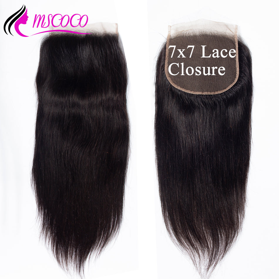 7x7 Lace Closure Brazilian Straight Human Hair Closure With Baby Hair Free Three Middle Part