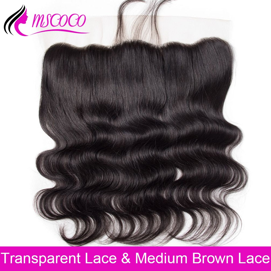 Brazilian Body Wave HD Transparent Lace Frontal Closure With Baby Hair Swiss Lace Frontal Human Hair Closure