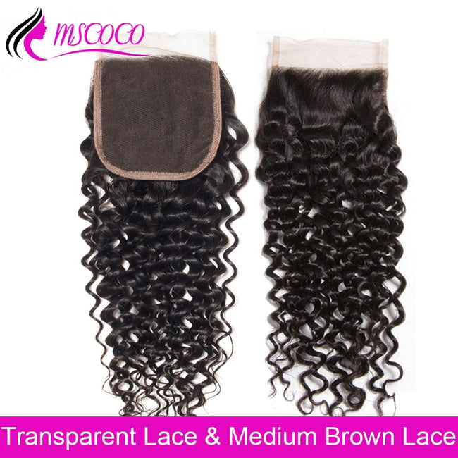 HD Transparent Lace Closure Brazilian Curly Wave Closure 4X4 Swiss Lace