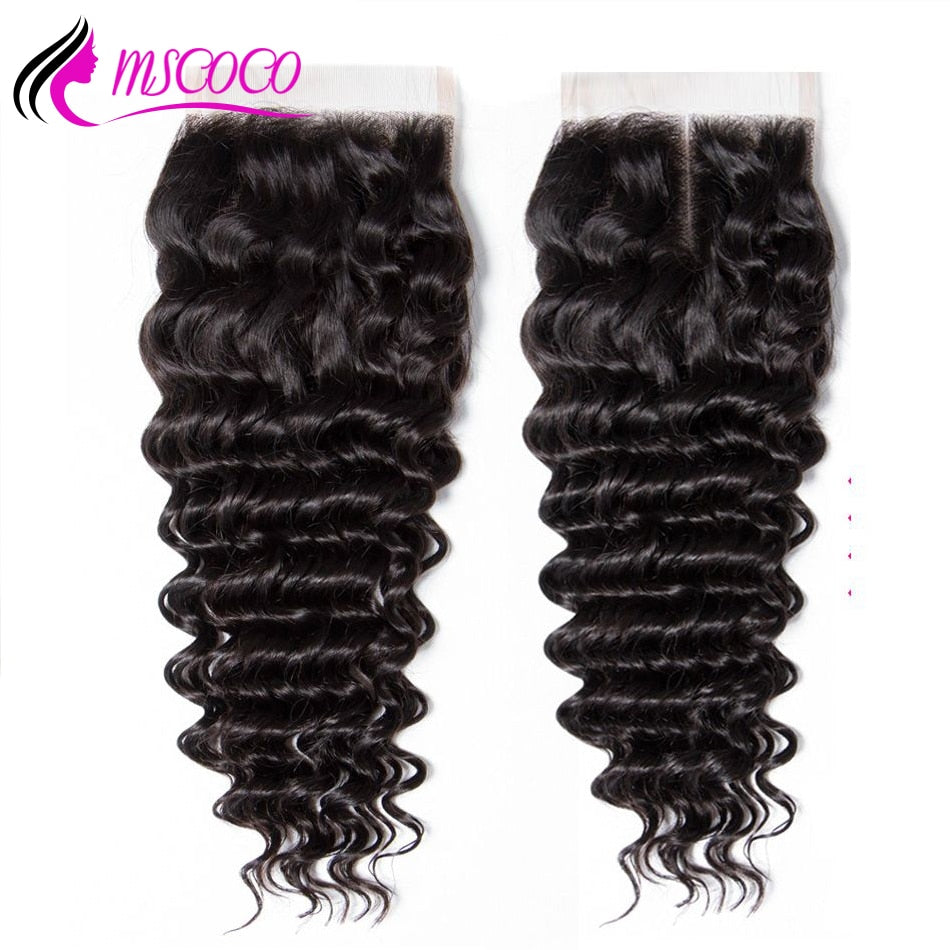 Brazilian Deep Wave HD Transparent Lace Closure 4x4