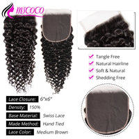 6x6 Swiss Lace Top Closure Brazilian Curly Wave Free Middle Three Part