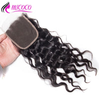 HD Transparent Lace Closure 4X4 Water Wave Swiss Lace 100% Human Hair