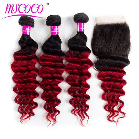 Ombre Brazilian Hair 3 Bundles With Lace Closure