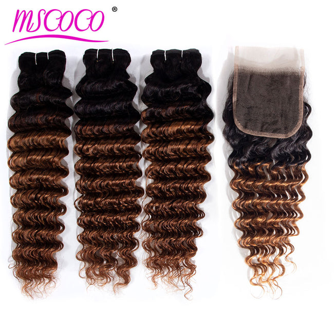 1B 30 Human Hair Deep Wave Bundles With Closure