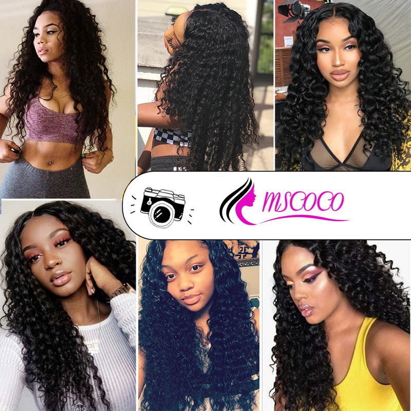 Brazilian Deep Wave 3 Bundles With Closure Deep Curly Brazilian Human Hair Weave