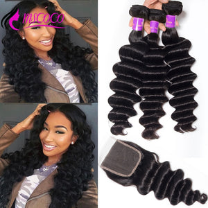 Brazilian Loose Deep Wave 3 Bundles With Closure Remy Human Hair