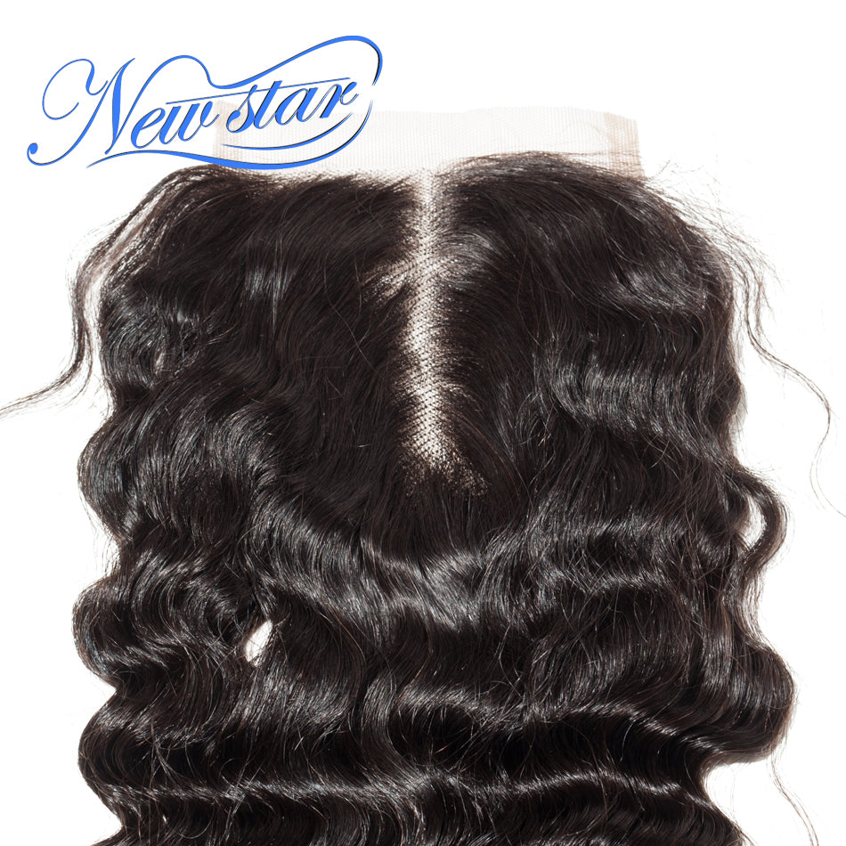 Deep Wave 3 Bundles Weft With A Lace Closure