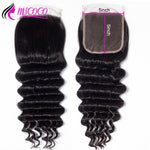 5x5 Lace Closure Loose Deep Wave Human Hair Closure  With Baby Hair Bleached Knots