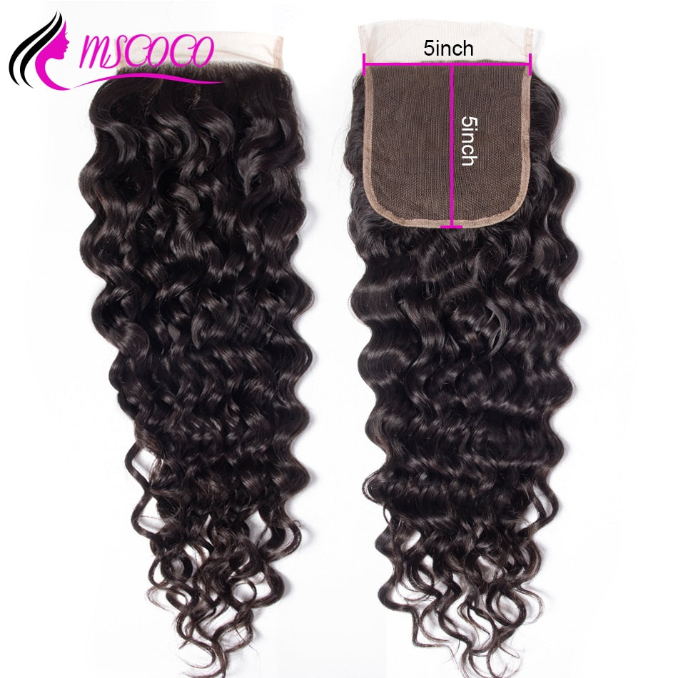 5x5 Lace Closure Water Wave Brazilian Remy Human Hair Closure Swiss Lace With Baby Hair Bleached Knots