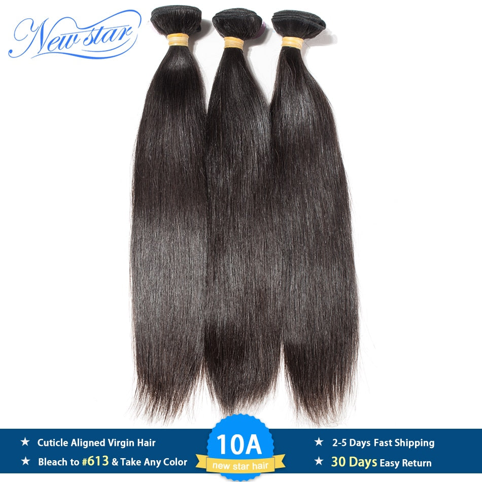 Brazilian Straight Virgin Hair 1/3/4 Bundles Natural Color Unprocessed 10A Cuticle Aligned New Star Raw Human Hair Weaving