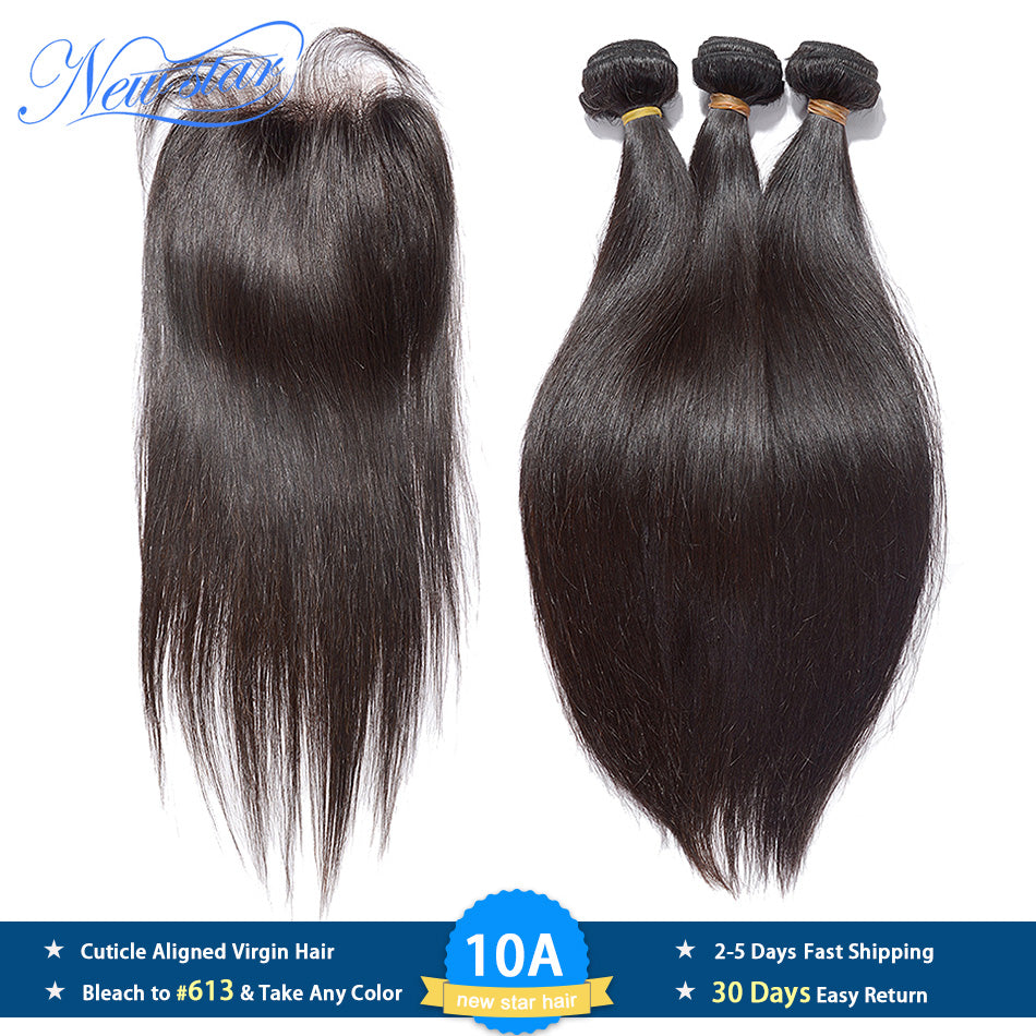 Brazilian Straight Virgin Hair 3 Bundles Human Hair Weaving With Closure 10A New Star Cuticle Aligned Raw Hair Weave And Closure