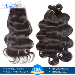 New Star Brazilian Virgin Hair Body Wave 3 Bundles With Lace Closure Raw Human Hair Cuticle Aligned 10A Hair Weaving And Closure