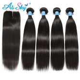 "Raw Indian Straight Hair 4 Bundles With  4""x4"" Top Lace Closure Non Remy"