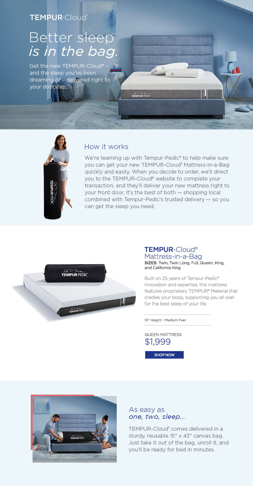 Tempur-Cloud Mattress in a Bag