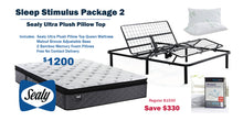 Load image into Gallery viewer, Sleep Stimulus Package 2 - Sealy Ultra Plush Pillow Top Queen Mattress