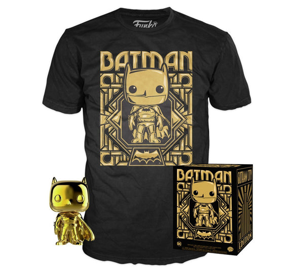 Funko Pop! Heroes Collectors Box: Chrome Gold Batman & T-Shirt + FREE POP PROTECTOR - Hyped Goods, New Jersey