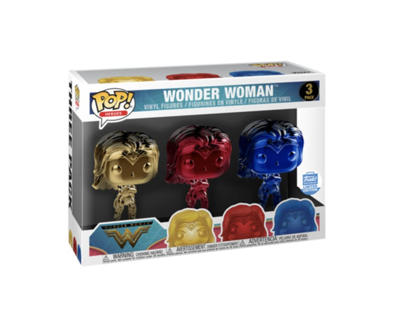 Funko Pop! Heroes: Wonder Woman Chrome Three Pack - Funko Shop Exclusive - Hyped Goods, New Jersey