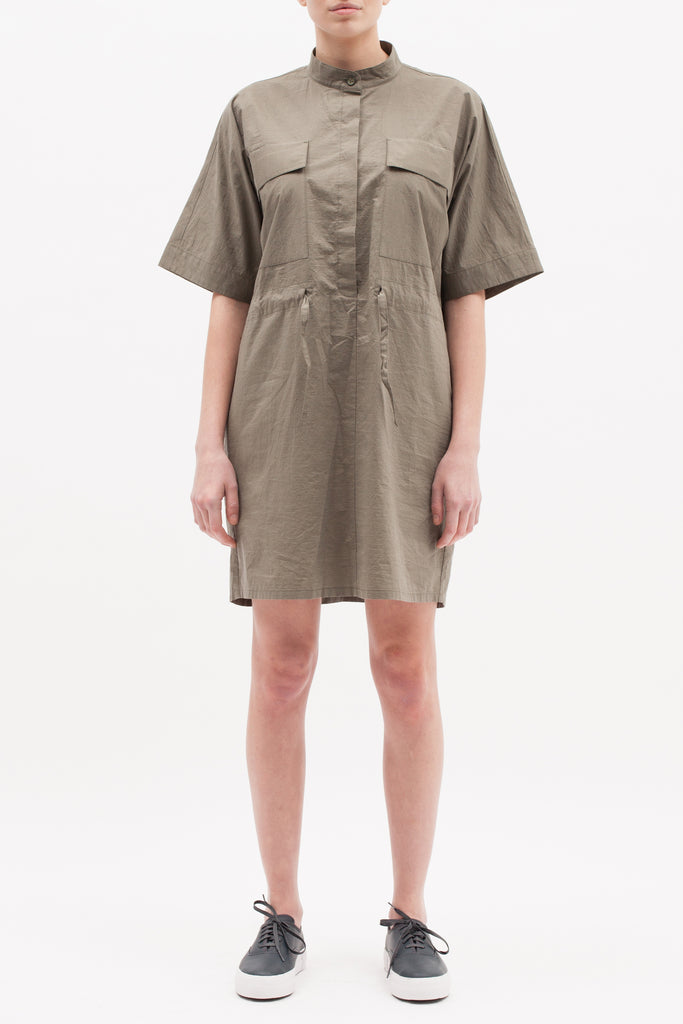 Boxy Shirt Dress - Olive - [product _vendor]